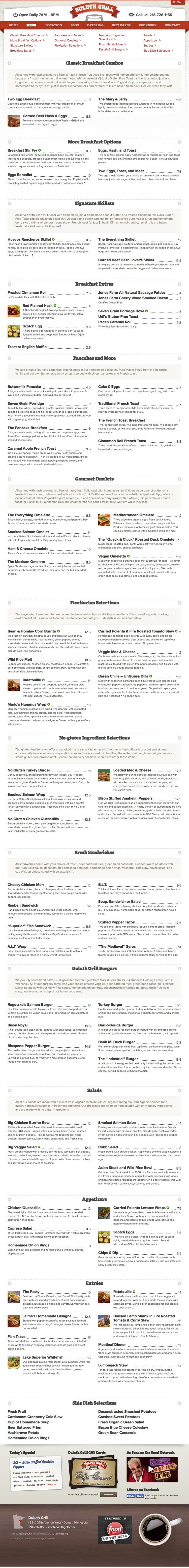 Duluth Grill Menu Design, Online Menu