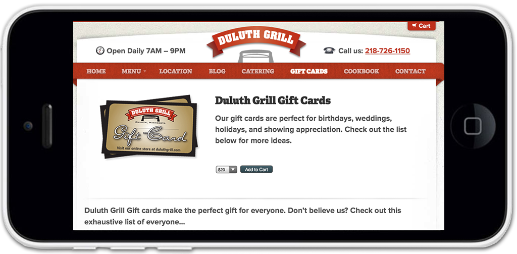 Duluth Grill Mobile Menu Design, Online Menu