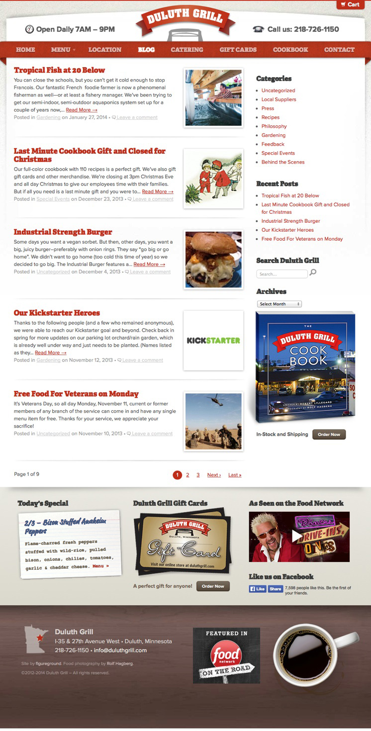Duluth Restaurant Website Design for Duluth Grill