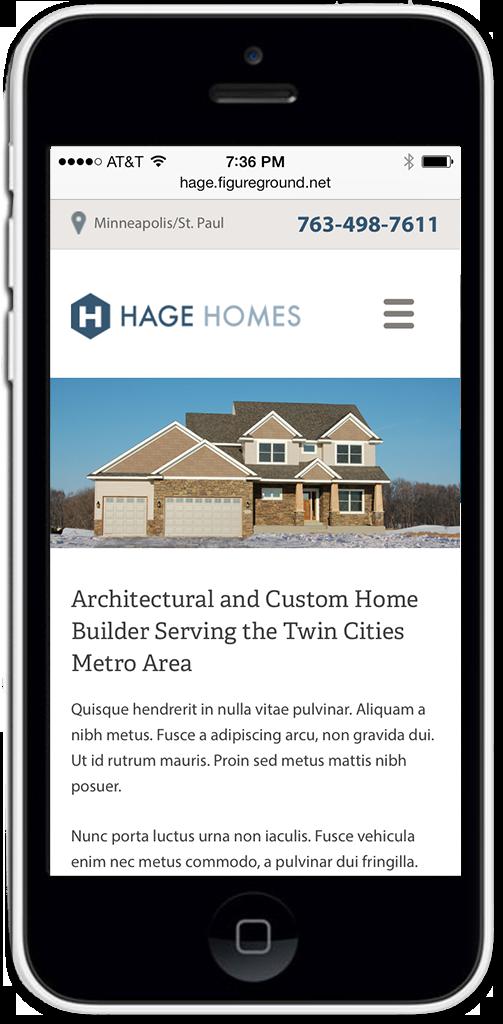 Hage Homebuilders Mobile Web Design