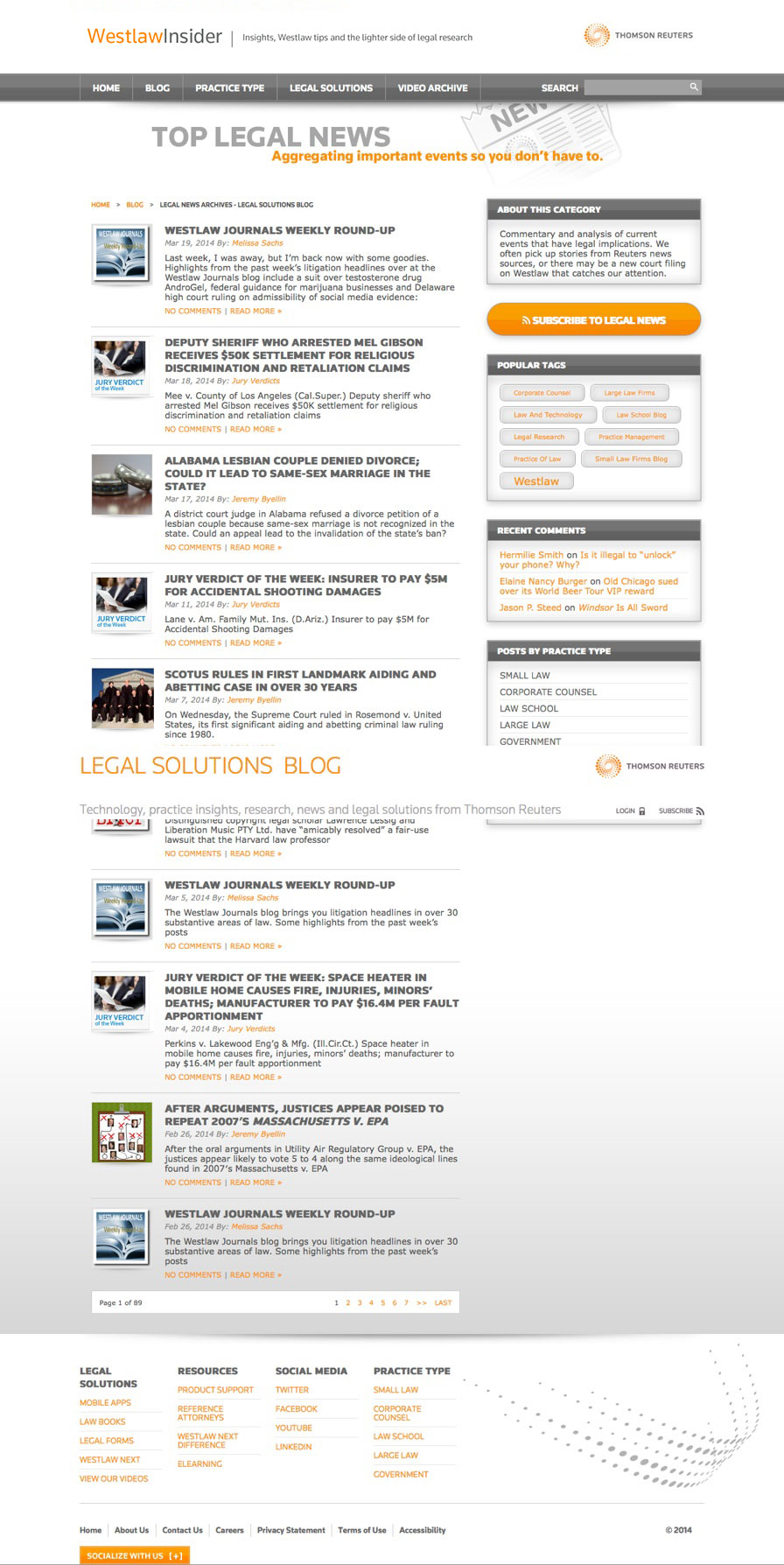 Thomson Reuters Legal News Website Design