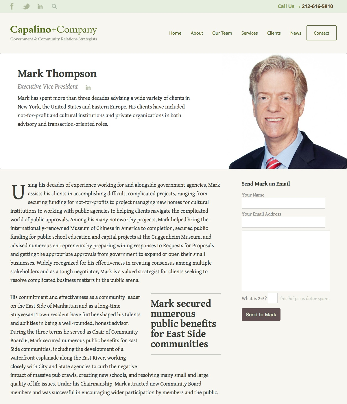 Government Lobbyist Website Design