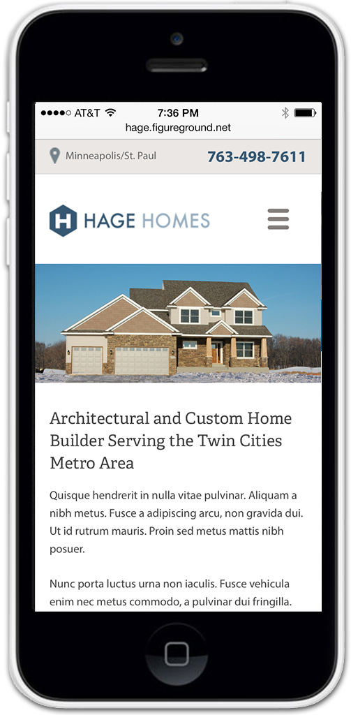 Hage Homebuilders Mobile Web Design