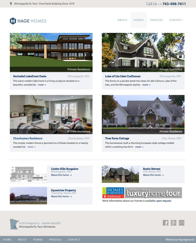 Custom Homes Web Design